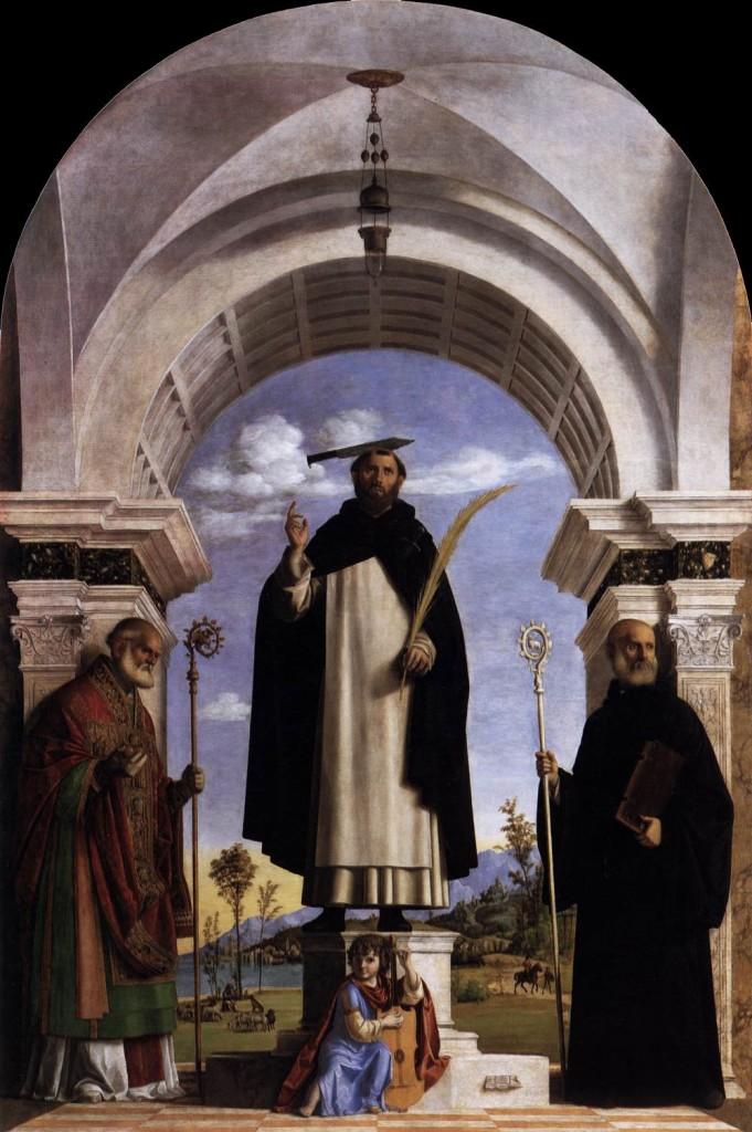 Cima da Conegliano San Pietro Martire e i santi Nicola da Bari e Benedetto.