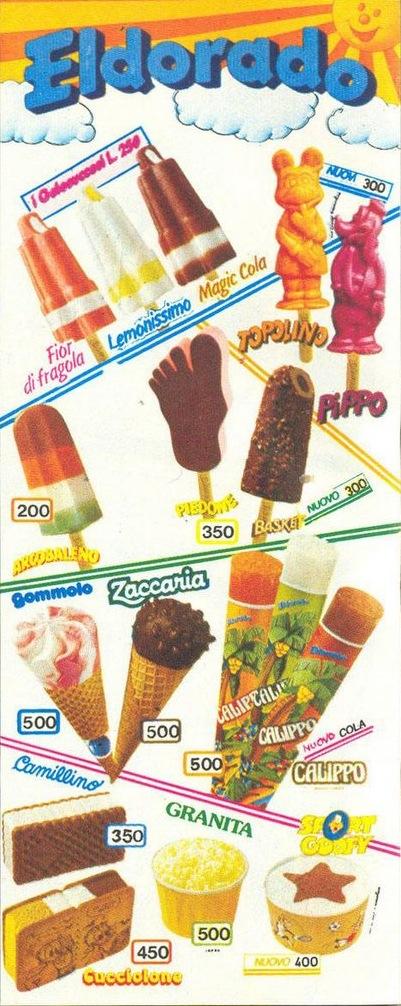 insegne gelati anni 80