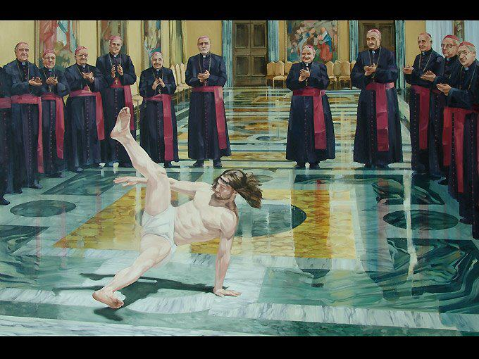 Cosmo Sarson - Breakdancing Jesus (Oil on canvas 182cm X 121cm) 2010