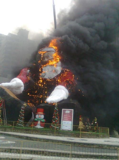 santa claus burning